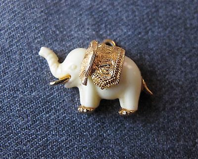 Vintage Creamy Plastic &  Gold Plated Elephant Pendant