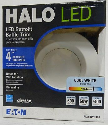 a0cf8a6db31 Halo 60-W Equivalent White Dimmable LED Recessed Retrofit Downlight Diameter  4