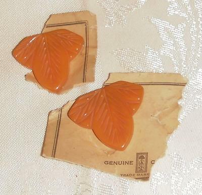NEW Pair / 2 Identical Vintage Carved Catalin Bakelite Suit / Dress Clips Coral