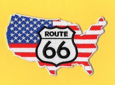 Grand Patch Route 66  Carte Usa  Biker Triker Trucker  Country Western  Amerique