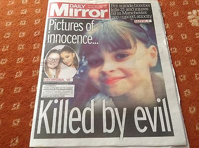 Daily mirror newspaper Wednesday May 24th Manchester terrorism killed by evil