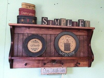 Wood Hanging Plate Rack and Primitive Country Shelf Kitchen Wall Display Unit