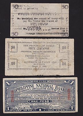 Lot Of 3 Philippine Wwii Notes  Iloilo,basey+National Bank