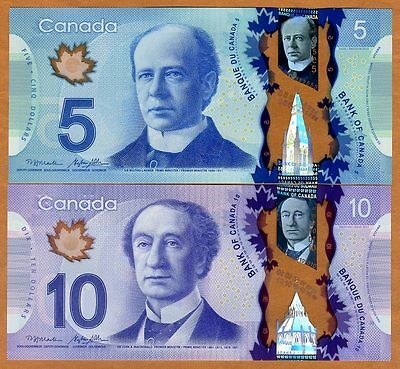 Set Bank of Canada, $5;10, 2013, Polymer, P-106b-107b, UNC > Space Walk, Train