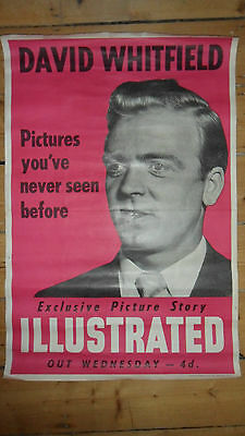 DAVID WHITFIELD Original Promotional Advertising Poster - ILLUSTRATED 1950s/60s