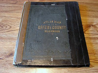 Old 1872 Greene County, Illinois IL County Atlas, Genealogy Complete Worn Condtn