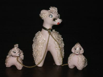 Vintage Pink Gold Spaghetti Poodle Family Set 3 Mom Puppy chain Artmark Japan