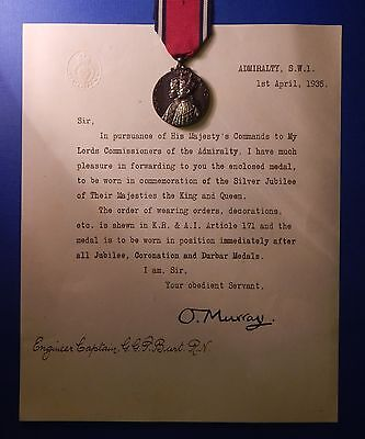 British King George V Silver Jubilee Medal 1935 W/document To R Admiral   Ab0247