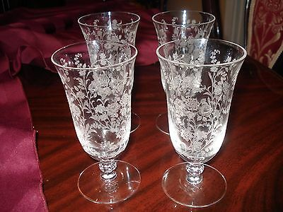 Tiffin Crystal Rose(Rambling Rose) 4 Small Juice Tumblers...gorgeous!.....wow!