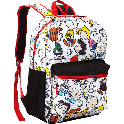 "16"" Backpack Peanuts Chuck Charlie Brown Gang Snoopy School Book Bag All O Print"