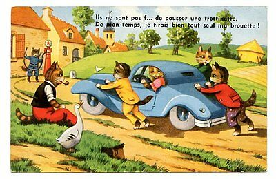 vintage cat postcard dressed cats push car w no petrol to gas station pump 1952