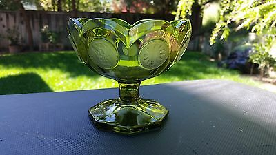 "Olive Green Fostoria Coin Glass Open Jam /Jelly 3 3/4"" # 1372/448"