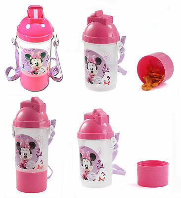 Disney MINNIE MOUSE Kids Rock N Sip N Snack Sport Tumbler Cup Canteen w/ Straps