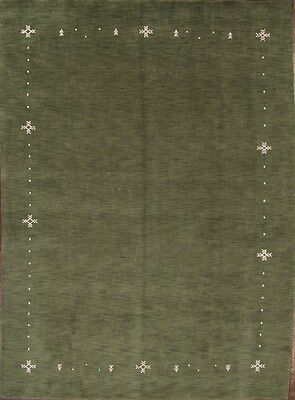 100% Wool Hand Knotted Contemporary Green Modern 8x11 Gabbeh Oriental Area Rug