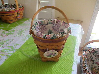 Longaberger 1995 Happy Easter Basket Liner Protector Tie On