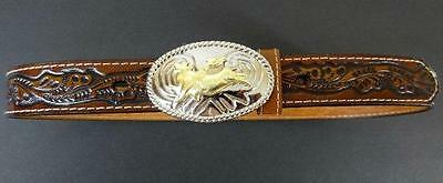 NOCONA BELT CO. Tooled Leather Silver Buckle Bull Rider Rodeo Cowboy Girl 28 New