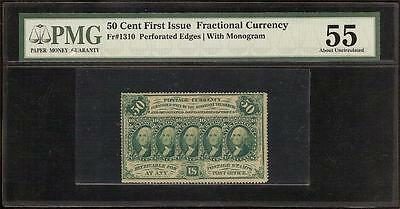 50 CENT PERFORATED EDGE FRACTIONAL CURRENCY GREEN POSTAGE NOTE Fr 1310 PMG 55