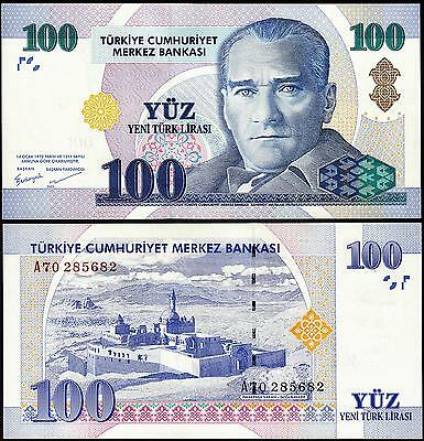 TURKEY 100 LIRA (YTL) 2005 UNC But AU / UNC P.221 PREFIX A