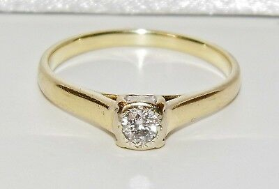 Vintage 9ct Yellow Gold 0.10ct Diamond Solitaire Ring - size K