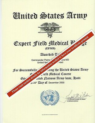 Army Expert Field Medical Badge School Deploma Replacement Certificate