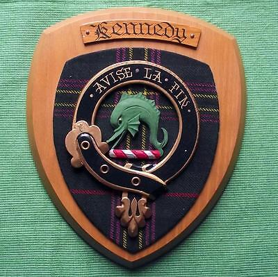 Vintage Scottish Clan Kennedy Tartan Oak Plaque Crest Shield B