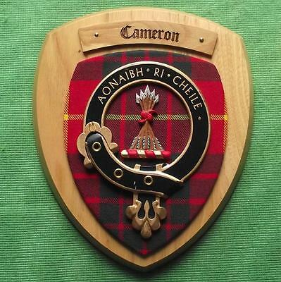 Vintage Scottish Clan Cameron Tartan Oak Plaque Crest Shield B