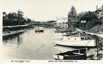 vintage postcard real photo Kananook Creek Frankston boats hire