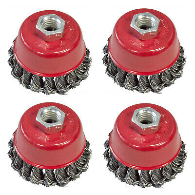 """4 X 75Mm 3"""" Twist Knot Wire Cup Brush For Angle Grinders Removes Paint Rust Fast"""
