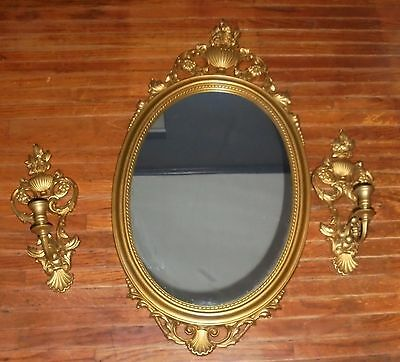 Vintage Gold Syroco Syracuse Ornamental Oval Mirror with 2 Candle Sconces