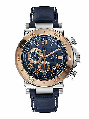 GC 1 Class X90015G7S Chronograph Rose Gold Plated Bezel Mens Watch in Blue
