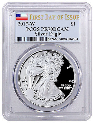 2017-W Proof Silver Eagle $1 PCGS PR70 DCAM First Day Issue Flag Label SKU47042