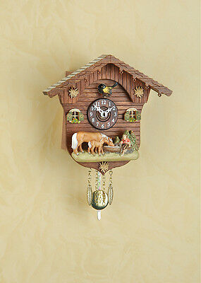 Black forest clock Pendulum clock Kuckulino with Cuckoo handpainted 2027SQ