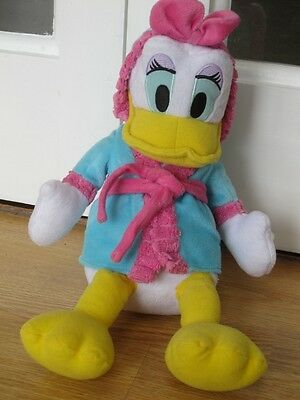 "Daisy Duck 14"" Soft Plush Toy In Bathrobe Dressing Gown Disney Donald Girlfriend"