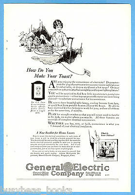 1922 GENERAL ELECTRIC advertisement, household electricity, toast at the table