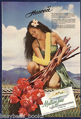 1941 MATSON LINES advertisement, Hawaii, native girl, grass skirt