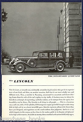 1935 LINCOLN advertisement, Willoughby Limousine custom body