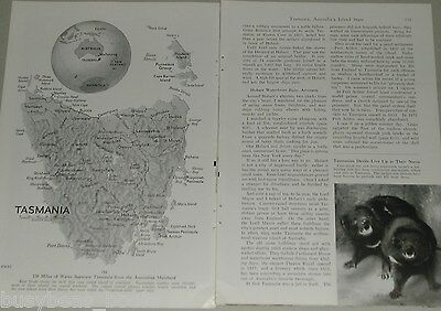 1956 magazine article about Tasmania, Australia, history, people, color photos