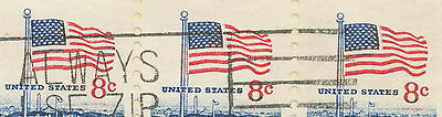 USA 1972 8 C Flag and White House strip of three superb Air Mail cover VARIETIES