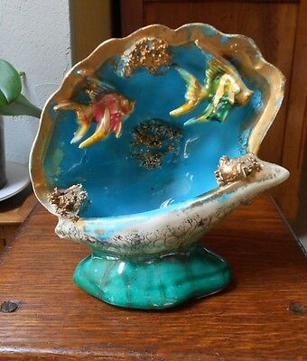 Majolica French seashell  Vintage VALLAURIS Kitsch T-V Fish lamp ..Mid-century