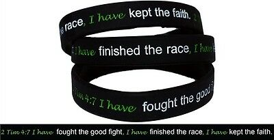 2 Timothy 4:7 Silicone Strength debossed wristband Bracelet Christian - Black wi