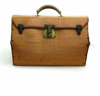 Antique Woven Straw Doctors Bag with Leather Handle & Brass Hardware