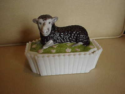 "Coal Painted Milk Glass Black Sheep, Lamb Candy Dish, 5 1/2"" Westmoreland"