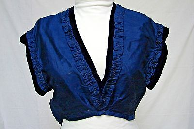 ANTIQUE 1800s VICTORIAN BLUE SILK & VELVET SUIT DRESS VEST BODICE