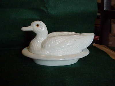 "Milk Glass Duck Candy Dish, Large 8 1/2"" Vintage Westmoreland"
