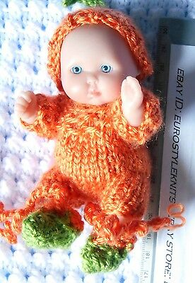 """Doll Clothes Thanksgiving Orange pumpkin outfit for Berenguer baby  5"""""""