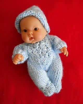 """Doll Clothes Hand-knit Blue Romper Set Fits 7"""" to 8"""" Baby Boy Chubby Berenguer"""