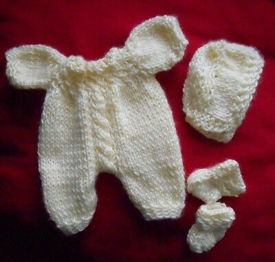 """Doll Clothes Hand-Knit Vintage Style Yellow Set Fits 10"""" to 12"""" Baby Truly Real"""