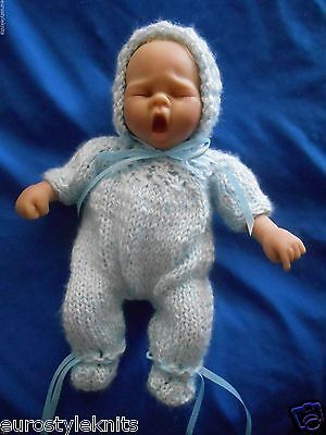 """Doll clothes Hand-knit Blue Footed Romper Bonnet Fits 11"""" to 12"""" Boy Truly Real"""