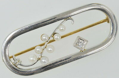 Vintage 14k White & Yellow Gold Pearl & Diamond Pin Brooch