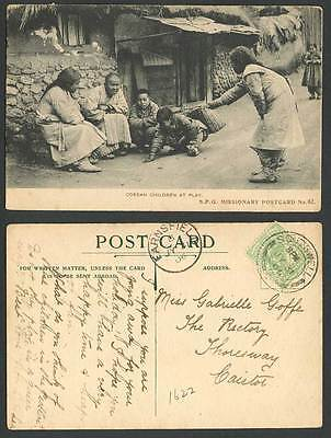 Korea 1906 Old Postcard Native Korean Children at Play Boys Girls House & Street